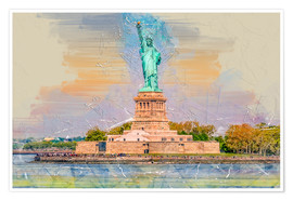 Póster Premium  New York Statue of Liberty - Peter Roder