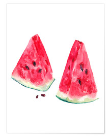 Póster Premium  watercolor slices of watermelon