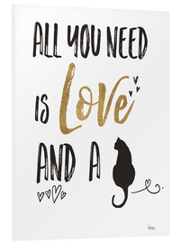 Quadro em PVC  All you need is love and a cat - Veronique Charron