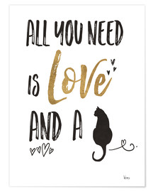 Póster Premium  All you need is love and a cat - Veronique Charron