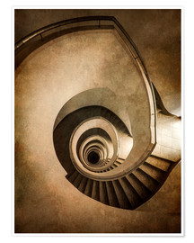 Póster Premium Spiral staircase in brown colors