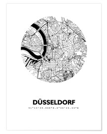 Póster Premium  City map of Dusseldorf - 44spaces