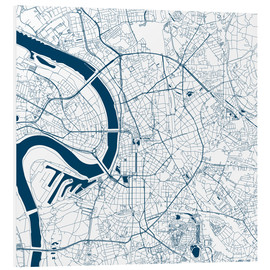 Quadro em PVC  City map of Dusseldorf - 44spaces