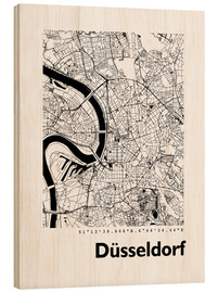 Quadro de madeira  City map of Dusseldorf - 44spaces