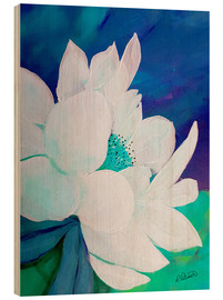 Quadro de madeira  White blossom on blue - Ruth Palmer