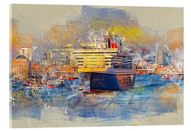 Quadro em acrílico  Hamburg Queen Mary II, in the background the Elbphilharmonie - Peter Roder