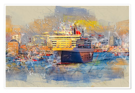 Póster Premium  Hamburg Queen Mary II, in the background the Elbphilharmonie - Peter Roder