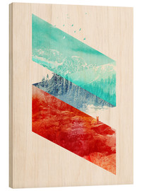 Quadro de madeira  Mountain Stripes - Robert Farkas