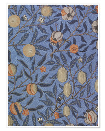 Póster Premium  Blue fruit or pomegranate - William Morris