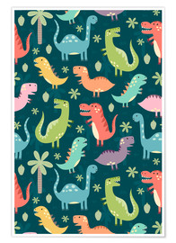 Póster Premium  Colorful dinosaurs - Kidz Collection