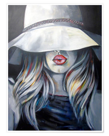 Póster Premium Woman with hat