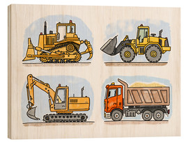 Quadro de madeira  Hugo's construction site - Hugos Illustrations