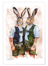 Póster Premium  Gay rabbits - Peter Guest
