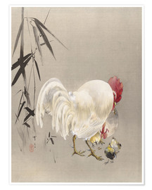 Póster Premium  Rooster and Hen with Chicks - Watanabe Seitei