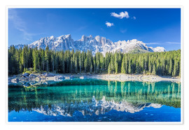 Póster Premium Lago di Carezza in South Tyrol with Latemar mountains