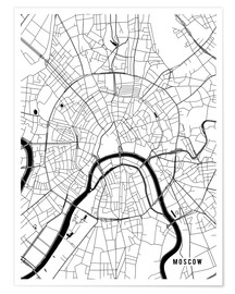 Póster Premium  Moscow Russia Map - Main Street Maps