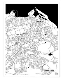 Póster Premium  Edinburgh Scotland Map - Main Street Maps
