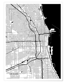 Póster Premium  Chicago USA Map - Main Street Maps