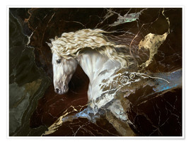 Póster Premium horse on marble