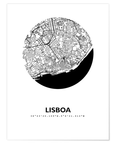Póster Premium City map of Lisbon
