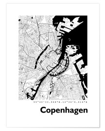 Póster Premium  City map of Copenhagen - 44spaces