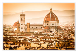 Póster Premium Cityscape with Cathedral and Brunelleschi Dome, Florence
