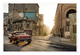 Póster Premium  Vintage car on the streets of Havana - Novarc