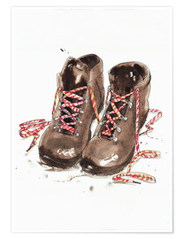 Póster Premium  Pair of hiking boots - Ikon Images