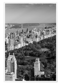 Póster Premium  Central Park in black and white - Walter Bibikow