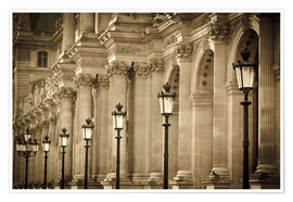 Póster Premium  Lamp posts and columns at Louvre - age fotostock
