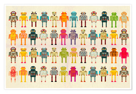 Póster Premium  Toy robots in a row - Ikon Images