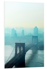 Quadro em PVC  Brooklyn Bridge at dawn - Johner
