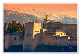 Póster Premium  Sierra Nevada and the Alhambra at sunset - age fotostock