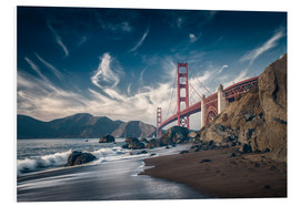 Quadro em PVC  Beach and Golden Gate Bridge - Westend61