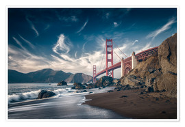 Póster Premium  Beach and Golden Gate Bridge - Westend61