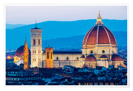 Póster Premium Cathedral and Brunelleschi cathedral in Florence