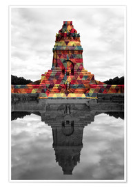 Póster Premium Monument to the battle of the nations Colour Pop