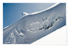 Póster Premium  Freeriding snowboarder on a snowy slope - Dean Blotto Gray