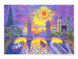 Póster Premium  Sunset Pool Of London - David Newton