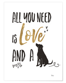 Póster Premium  All you need is love and a dog - Veronique Charron