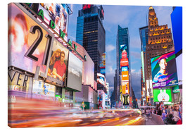 Quadro em tela  Passing vehicles in front of the billboards of Times Square in New York - Neale Clarke