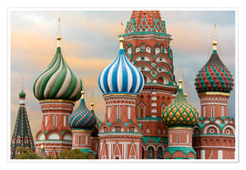 Póster Premium  St. Basil's Cathedral in Moscow - Miles Ertman