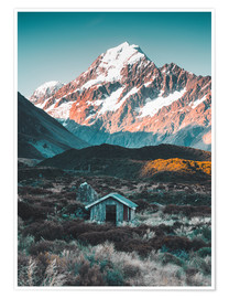Póster Premium  Hut at Mount Cook, New Zealand - Nicky Price