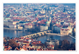 Póster Premium  View of the old town of Prague on the Vltava - Roberto Sysa Moiola