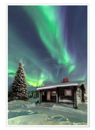 Póster Premium  Northern Lights frame a wooden hat - Roberto Sysa Moiola