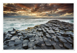 Póster Premium An evening view of the Giant's Causeway