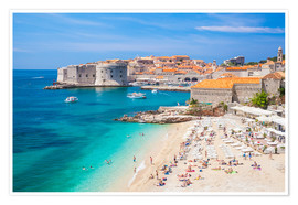 Póster Premium  Old harbor and old town of Dubrovnik - Neale Clarke