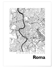 Póster Premium  Map of Rome - 44spaces