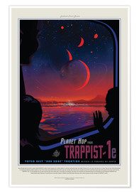 Póster Premium  Retro Space Travel - Trappist-1e
