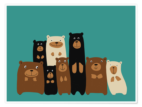 Póster Premium Bear friends turquoise